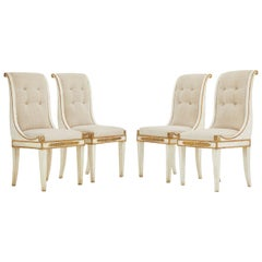 Set of Four Italian 19th Century Gilt and Painted Chairs