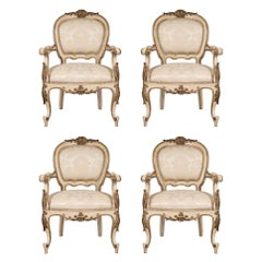 Set of Four Italian 19th Century Louis XV St. Armchairs