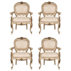 Set of Four Italian 19th Century Louis XV St. Off-White and Mecca Armchairs
