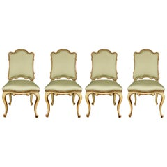 Set of Four Italian 19th Century Silvered Mecca and Patinated Side Chairs