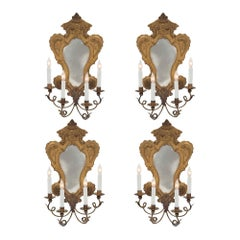 Set of Four Italian 20th Century Louis XV St. Pressed Brass Mirrored Sconces