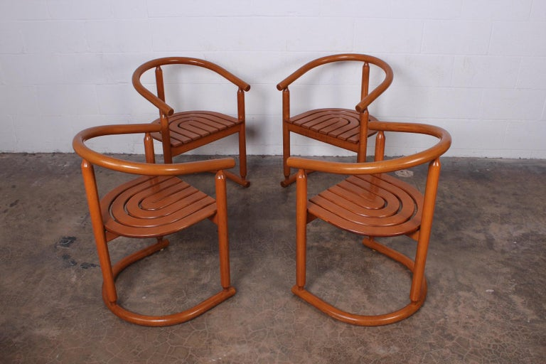 Late 20th Century Set of Four Italian Armchairs For Sale
