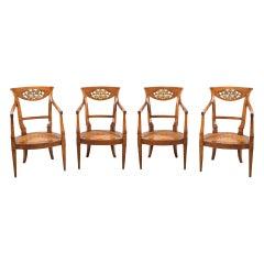 Set of Four Italian Armchairs, Venice 19th Century Carved Wood Italy Biedermeier