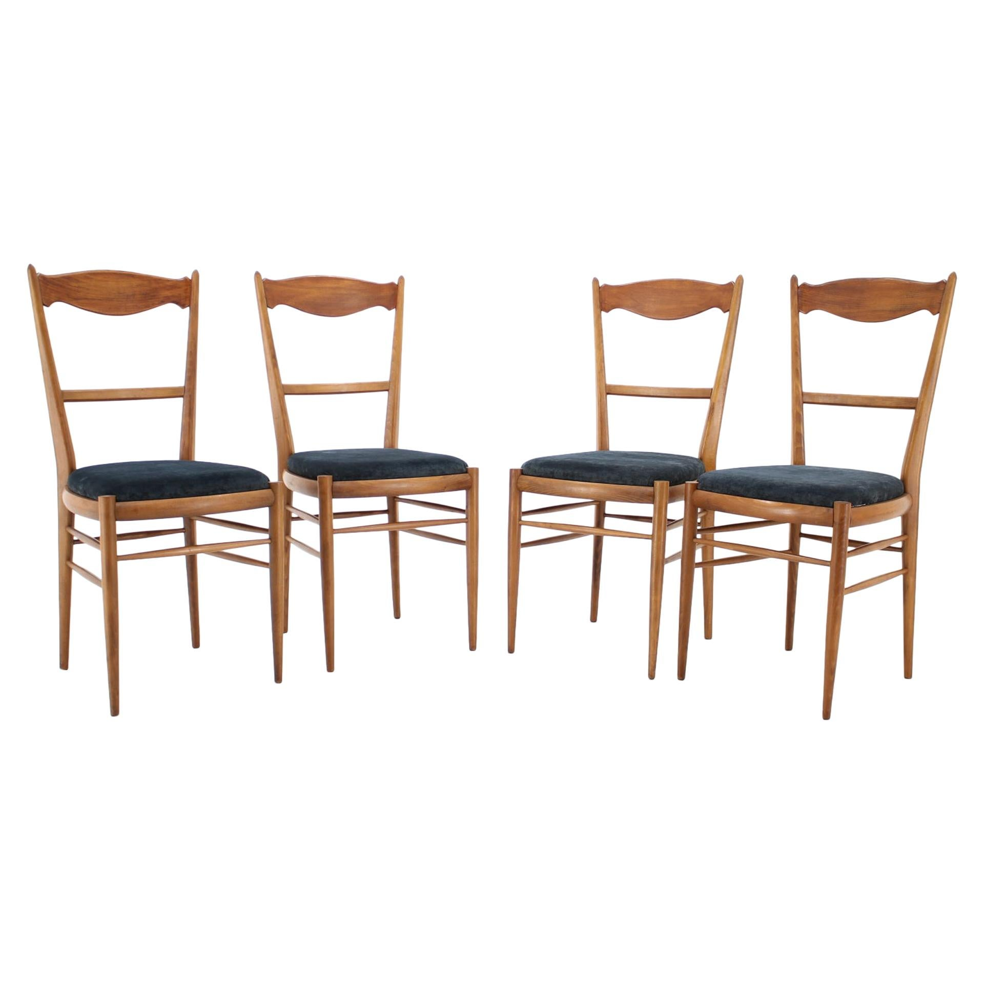 Set of Four Italian Beech Dining Chairs, 1960s