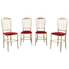 Set of Four Italian Brass Chiavari Dining Chairs