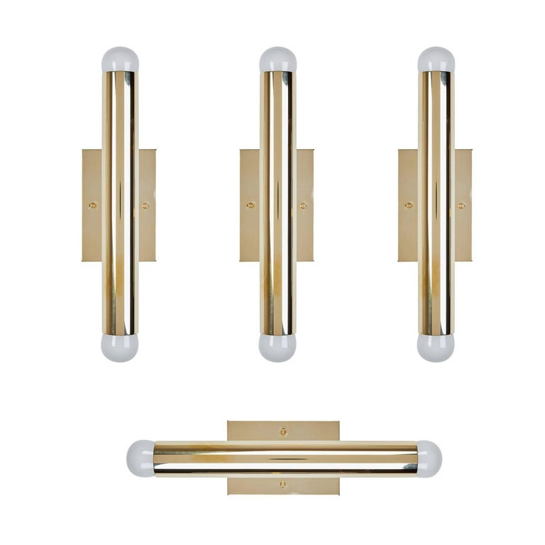Set of Four Italian Brass Tubular Sconces