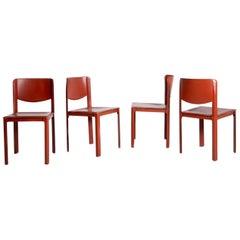 Set of Four Italian Chair, Matteograssi Burgundy Leather M. Sistina, Label 1980