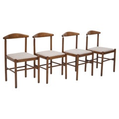 Set of Four Italian Chairs in Beige Cotton Fabric