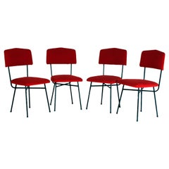 Set of Four Italian Chairs, Italy, 1950s, Iron and Red Fabric