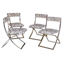 Set of Four Italian Chrome Folding Chairs, 1970s