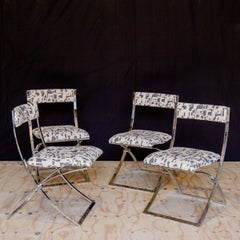 Set of Four Italian Chrome Folding Chairs 1970s