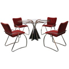 Set of Four Italian Chromed Chairs, 1970s