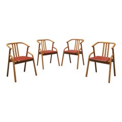 Midcentury Solid Beech Wood and Red Leather Italian Dining Chairs, 1980s