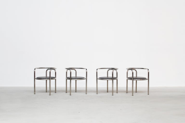 A beautiful set of four armchairs designed by Gae Aulenti and produced by Poltronova, Italy, 1960s.