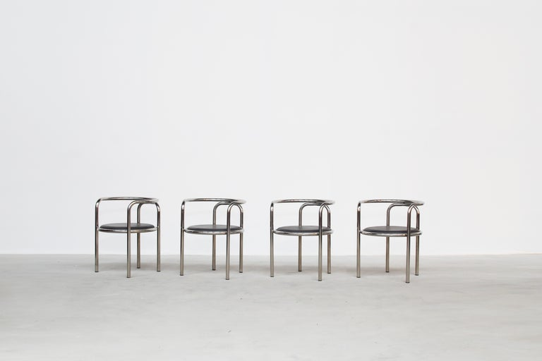 20th Century Set of Four Italian Dining Chairs Armchairs by Gae Aulenti for Poltronova, 1960 For Sale