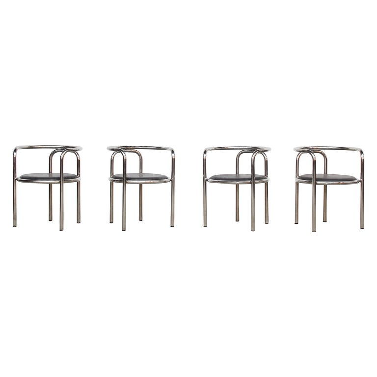 Set of Four Italian Dining Chairs Armchairs by Gae Aulenti for Poltronova, 1960 For Sale