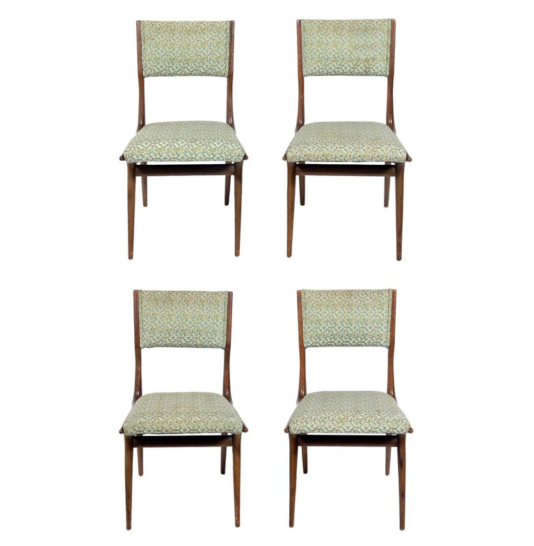 Mid-Century Modern Set of Four Italian Dining Chairs by Carlo di Carli For Sale