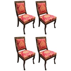 Set of Four Italian Dining Chairs Red Gold Upholstery 20th Century Empire Style