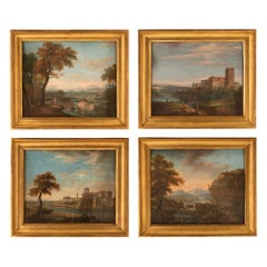 Set of Four Italian Early 19th Century Gouaches of the Italian Countryside