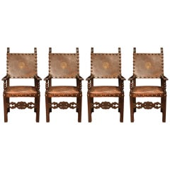 Set of Four Italian Early 19th Century Walnut and Leather Throne Chairs