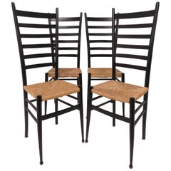 Set of Four Italian Ladder Back Dining Chairs After Gio Ponti