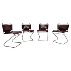 Set of Four Italian Leather and Tubular Chairs