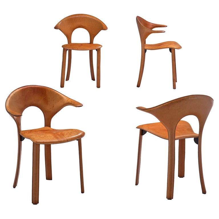 Set of Four Italian Leather Armchairs, 1970s For Sale