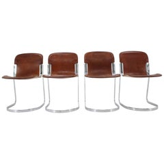 Set of Four Italian Leather Dining Chairs by Willy Rizzo for Cidue, 1970s