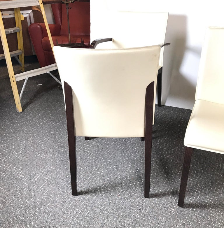 Italian Leather Dining Chairs: Set Of Four Italian Leather Dining Chairs For Sale At 1stdibs