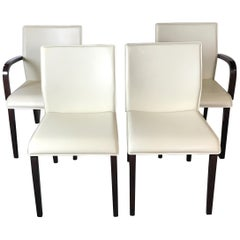 Set of Four Italian Leather Dining Chairs