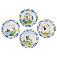 Set of Four Italian Majolica Hand Painted Plates