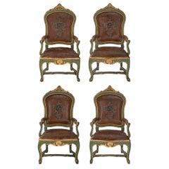 Set of Four Italian Mid 18th Century Roman Armchairs