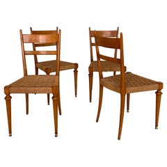 Set of Four Italian Mid-Century Dining Chairs in Cherry and Rope by Pecorini