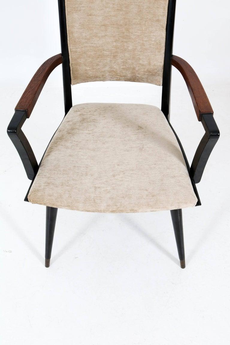Set of Four Italian Mid-Century Modern Armchairs Gio Ponti Style, 1950s For Sale 6