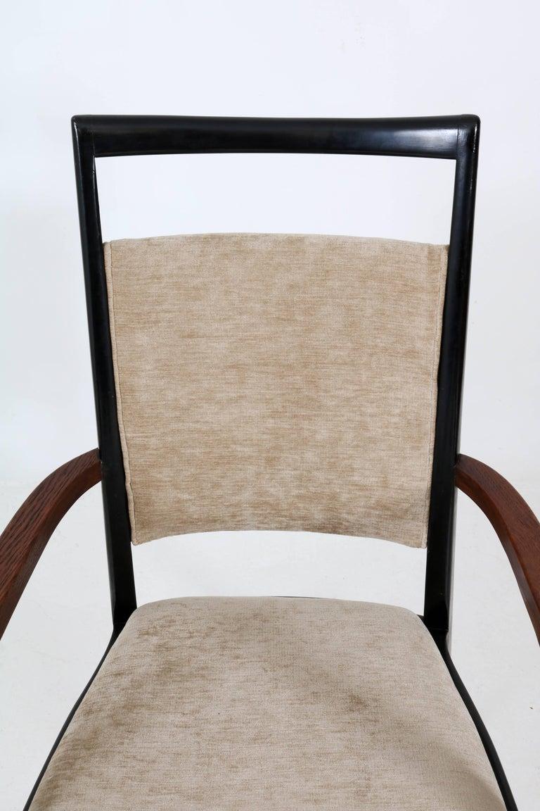 Set of Four Italian Mid-Century Modern Armchairs Gio Ponti Style, 1950s For Sale 7