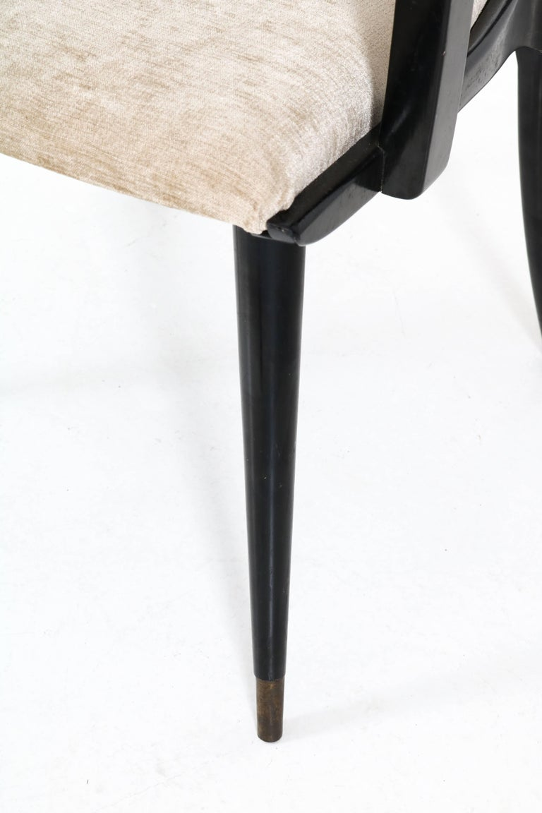 Set of Four Italian Mid-Century Modern Armchairs Gio Ponti Style, 1950s For Sale 8