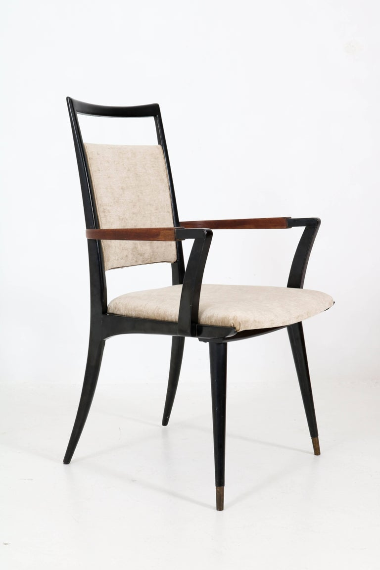 Set of Four Italian Mid-Century Modern Armchairs Gio Ponti Style, 1950s For Sale 9
