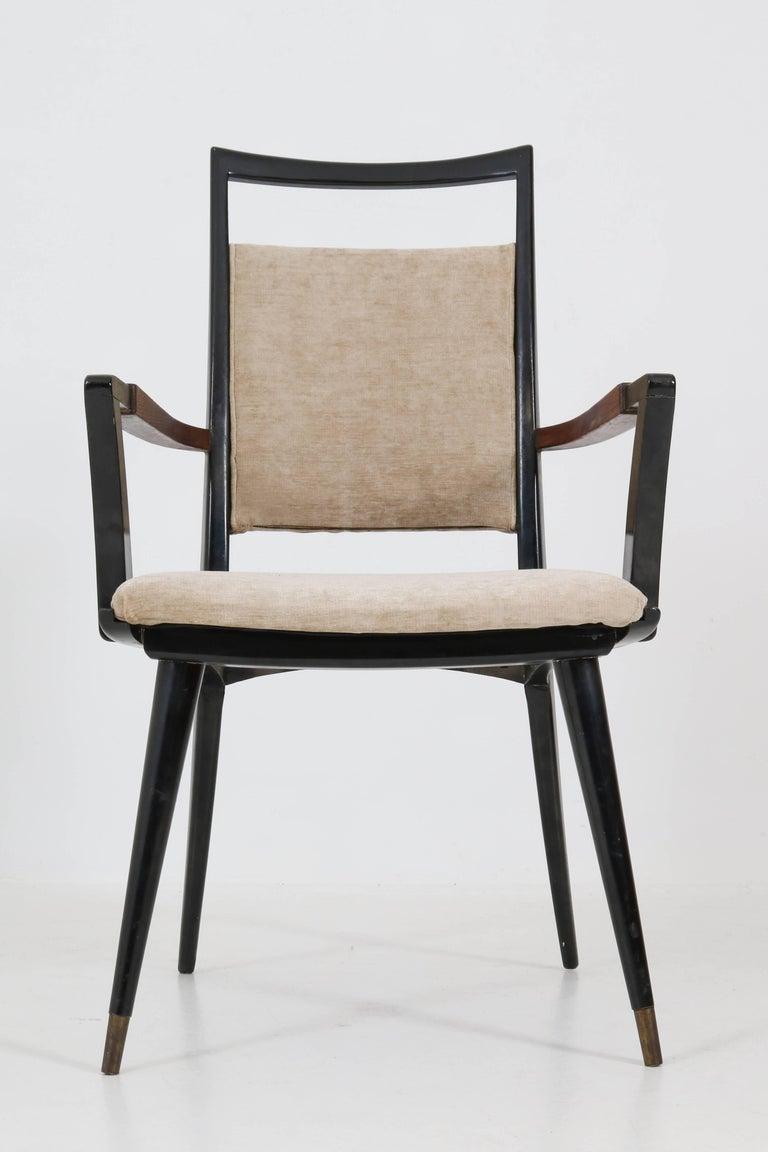 Set of Four Italian Mid-Century Modern Armchairs Gio Ponti Style, 1950s For Sale 10