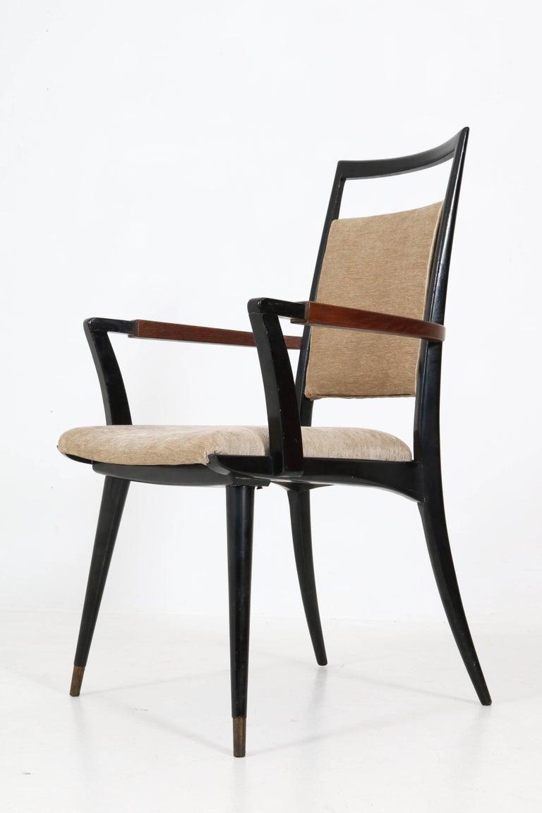 Set of Four Italian Mid-Century Modern Armchairs Gio Ponti Style, 1950s For Sale 11