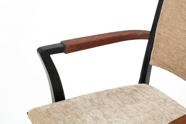 Mid-20th Century Set of Four Italian Mid-Century Modern Armchairs Gio Ponti Style, 1950s For Sale