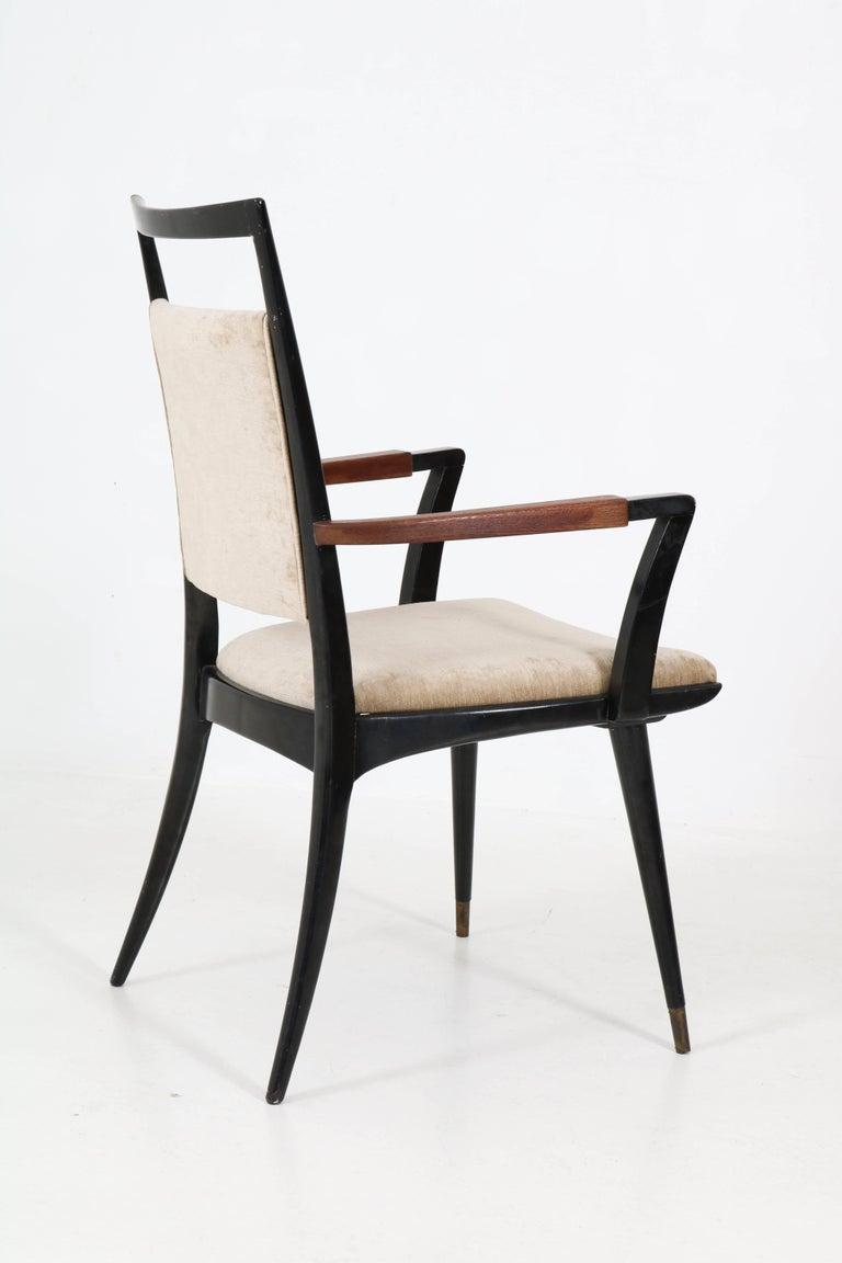 Set of Four Italian Mid-Century Modern Armchairs Gio Ponti Style, 1950s For Sale 1