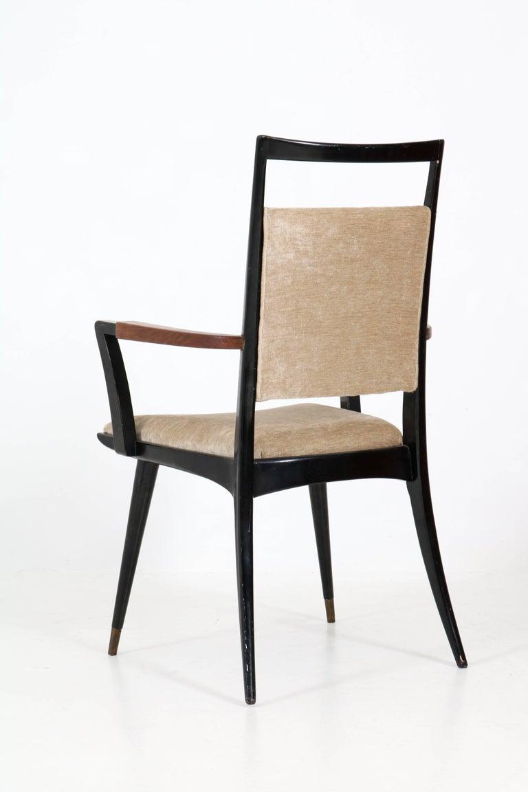 Set of Four Italian Mid-Century Modern Armchairs Gio Ponti Style, 1950s For Sale 2