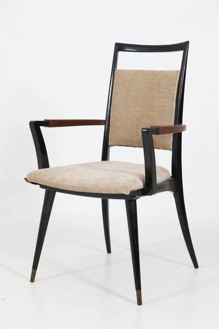 Set of Four Italian Mid-Century Modern Armchairs Gio Ponti Style, 1950s For Sale 3