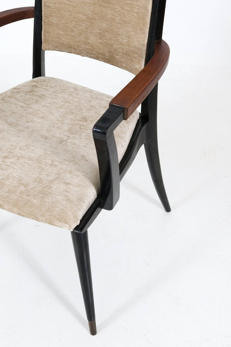 Set of Four Italian Mid-Century Modern Armchairs Gio Ponti Style, 1950s For Sale 4
