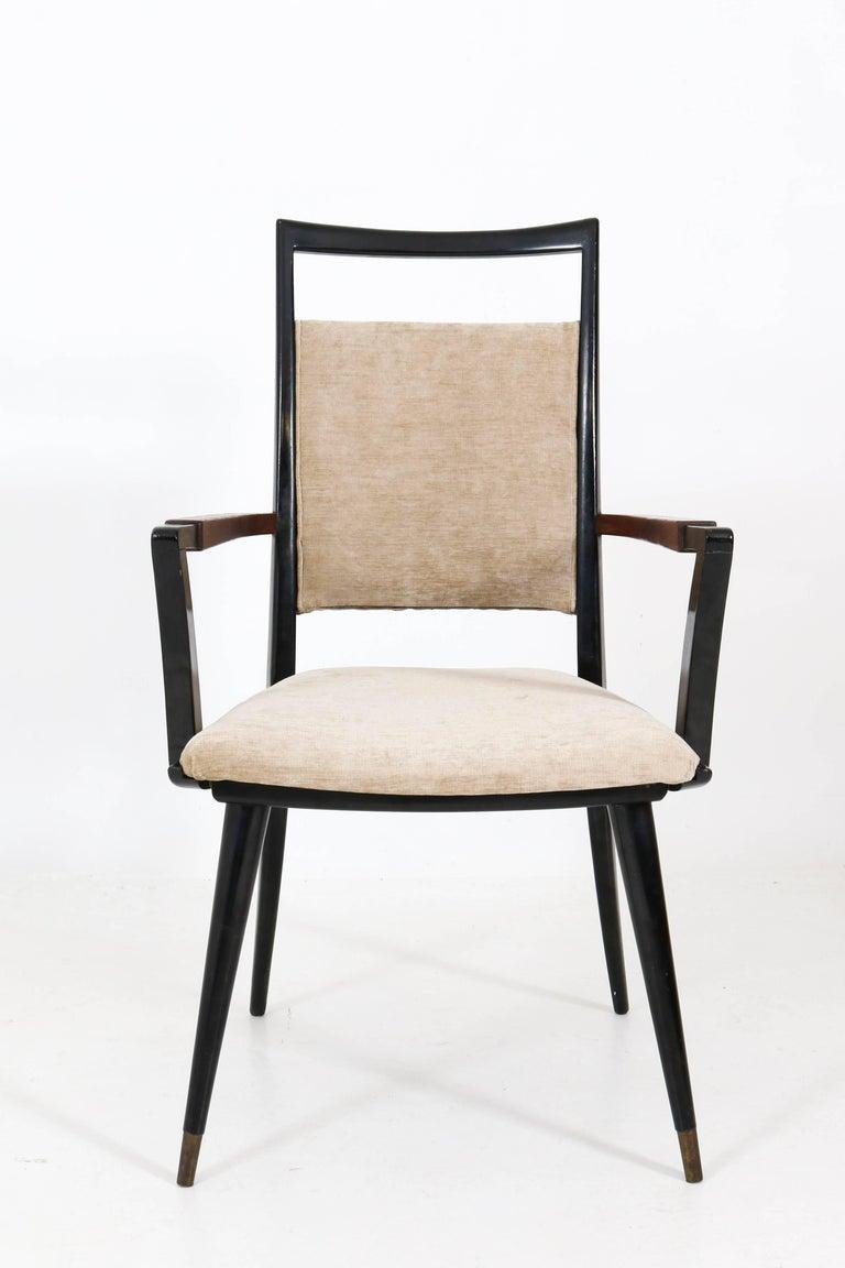 Set of Four Italian Mid-Century Modern Armchairs Gio Ponti Style, 1950s For Sale 5