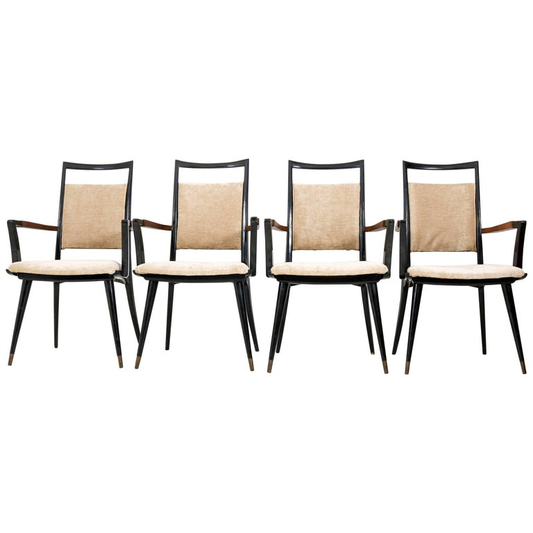 Set of Four Italian Mid-Century Modern Armchairs Gio Ponti Style, 1950s For Sale