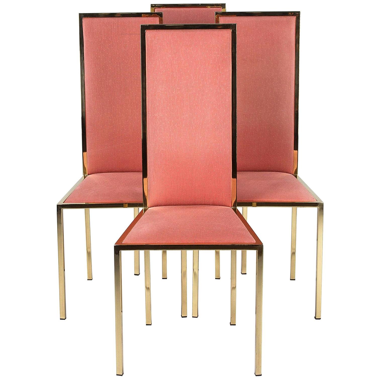 Set of Four Italian Midcentury Brass and Fabric Chairs, 1960s