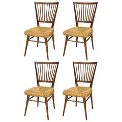 Set of Four Italian Midcentury Cerused Oak Chairs with Rushed Seats