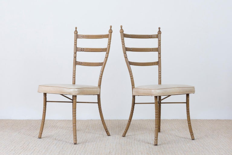 Set of Four Italian Midcentury Faux Bamboo Dining Chairs For Sale 4