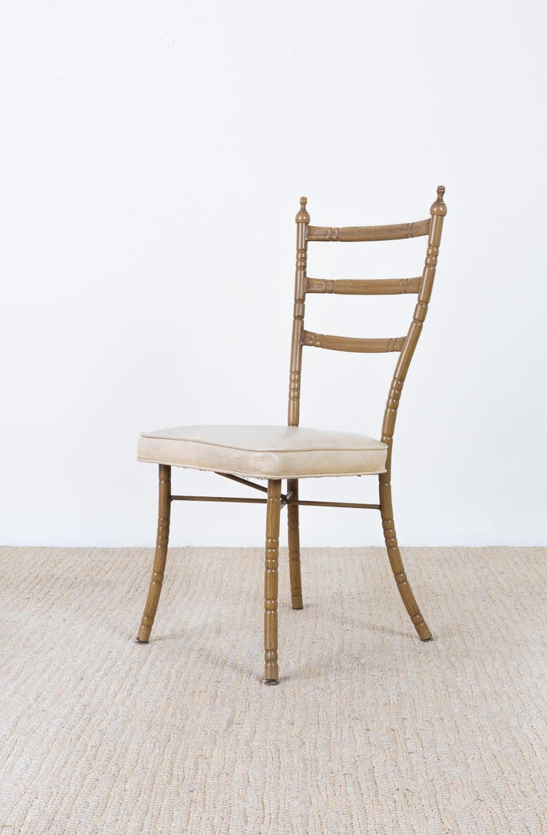 Set of Four Italian Midcentury Faux Bamboo Dining Chairs For Sale 5